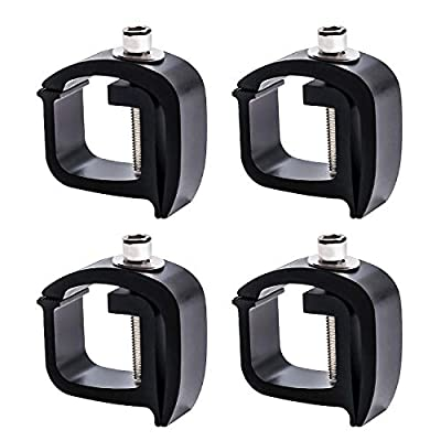 AA-Rack P-AC(4)-01 Set of 4 Aluminum C-Clamps for Non-Drilling Truck Rack & Camper Shell Installation-Black