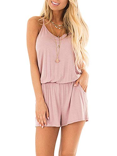 LACOZY Womens Summer Dressy Rompers Casual V Neck Spaghetti Strap Short Jumpsuit Romper with Pockets Pink Small