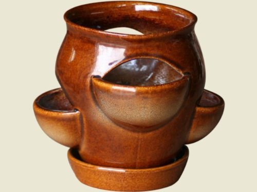 Fenster Kräutertopf mini, braun-geflammt mit Unterschale aus frostbeständiger Steinzeug-Keramik