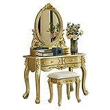 NBVCX Decoración de Muebles Tocador con Espejo Tocador de Estilo Europeo Dormitorio Champagne Gold Pequeño apartamento Mini Princesa de Lujo Tallada para Dormitorio (Color: Gold Tamaño: 0.8m)