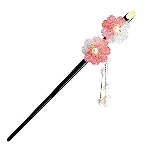 Vintage Acryl Haarnadel Stift Chinesisch Japanischen Stil Haarschmuck (Pink)