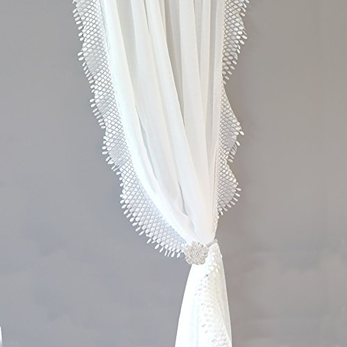 DriftAway Ava Lace and Crochet Trim Voile Sheer Window Curtains Rod Pocket 2 Panels Each 42 Inch by 84 Inch Off White