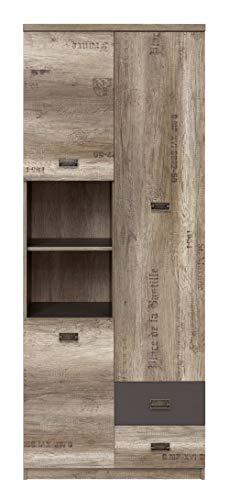Boardd - Mueble de cristal de pie con 3 puertas y 2 cajones, color roble y gris
