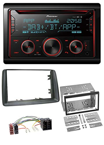 caraudio24 Pioneer FH-S820DAB 2DIN DAB MP3 Bluetooth USB CD Autoradio für FIAT Panda 2003-2012 grau