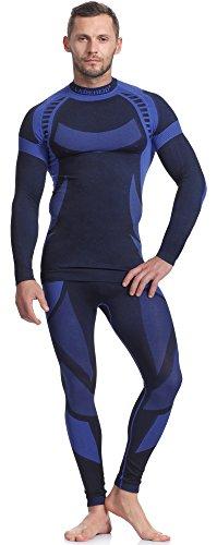 Ladeheid Herren Funktionsunterwäsche Set Langarm Shirt Lange Unterhose Thermoaktiv (Schwarz/Navyblau, M)