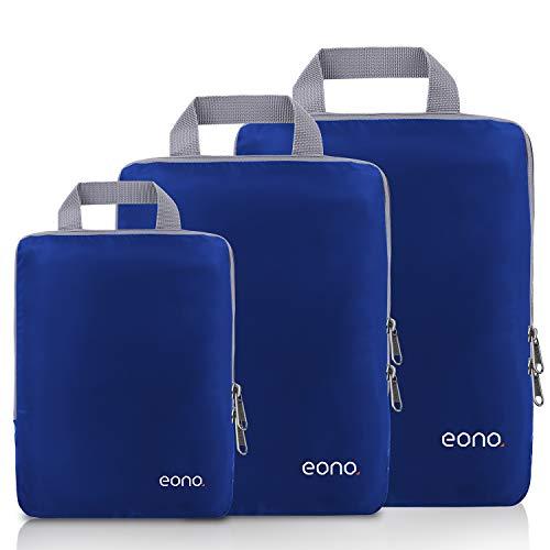 Eono by Amazon - Organizadores de Viaje de compresión expandibles, Impermeable Organizador de Maleta, Cubos de Embalaje, Compression Packing Cubes, Navy, 3 Set