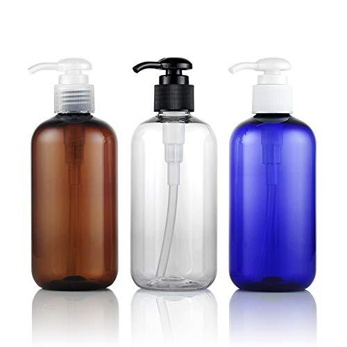 3 PCS 250ML 8.5OZ Marron Bleu Transparent Vide Rechargeable En Plastique Lotion Presse Pompe Bouteille avec Couleur Alimentaire Tête De Pompe Shampooing Conditionneur Pot Cosmétique