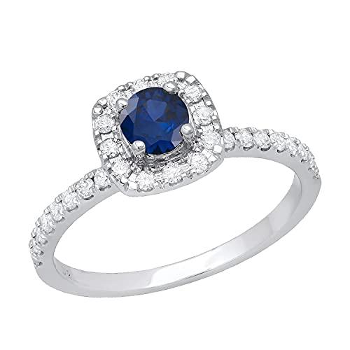 Dazzlingrock Collection Anillo de compromiso redondo de 4,5 mm con zafiro azul y diamante blanco, impresionante estilo halo para ella con piedras de hombro, oro blanco de 18 quilates, talla 10