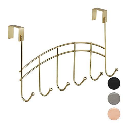 Relaxdays Türgarderobe, geschwungene Türhakenleiste zum Einhängen, 6 Haken, Stumpfe Türen, Metall, 21x40x10,5 cm, Gold