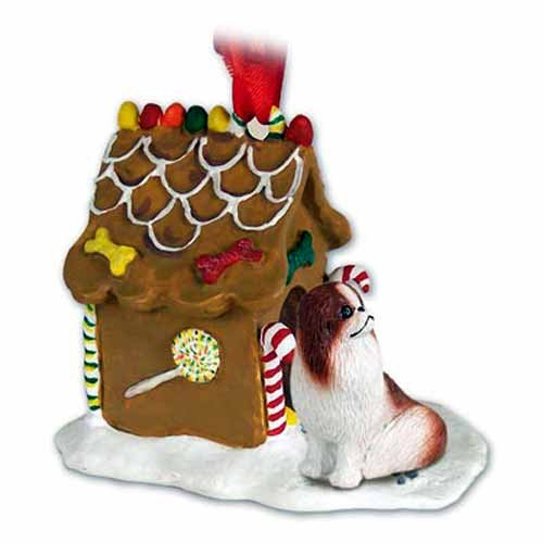 Conversation Concepts Japanese Chin Gingerbread House Ornament - Red & White