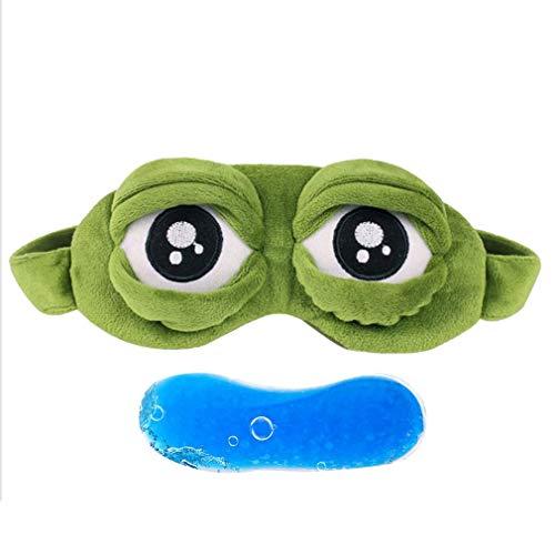 Olddreaming-Lovely - Máscara elástica para ojos de ranas tristes, esponjosa, para dormir, para vuelo, viajes, oficina, sueño, color verde (bolsa de hielo)