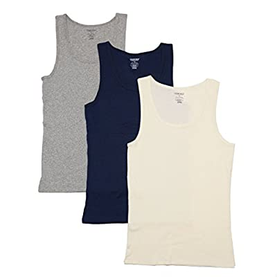 Cherokee Women's 3 Piece Ladies Cotton Tank, Heather Grey/Navy/Ivory, S