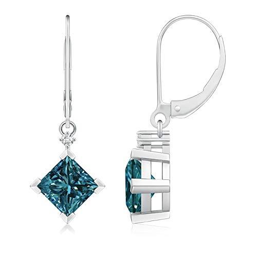 Pendientes de palanca de diamante azul con corte princesa (peso: 2 quilates)