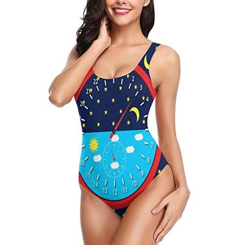 uxingdouriyongpin Tag Nacht mit Uhr Damen Badeanzug Backless Tummy Control Swimwear