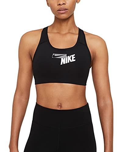 NIKE W NK Swoosh Logo Bra Pad Sports, Black/Black/(Particle Grey), S Womens