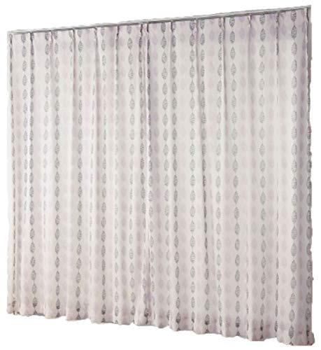 リーフ柄レースカーテン ホワイト×ピンク×グレー 2枚組セット 遮熱 遮像 見えにくい 透けない (幅100×高さ183cm)