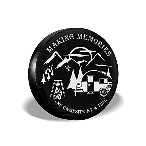 """cozipink Making Memories One Campsite Camper Spare Tire Cover Nature Mountains Camping Tire Covers for Rv Trailer SUV Truck Travel Trailer Weatherproof Wheel Protectors 15"""""""