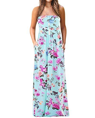 YOINS Vestido de verano para mujer, elegante, sin hombros, cuello en V, hasta la rodilla, informal, largo hasta la rodilla