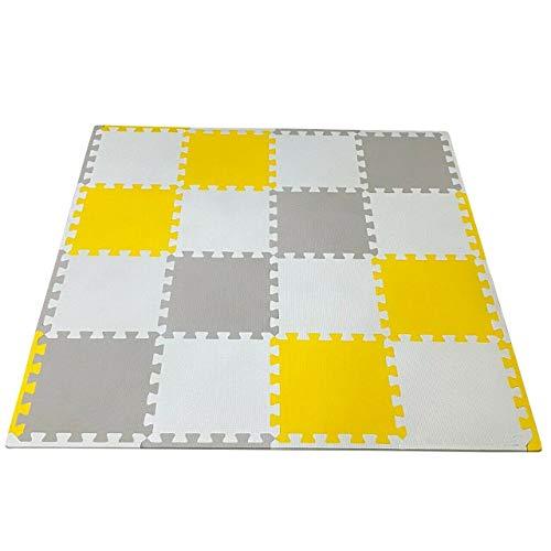 Alfombra para sala de estar con diseño de niños (32 unidades, 8 rosas+8 gris+16 blanco), amarillo)