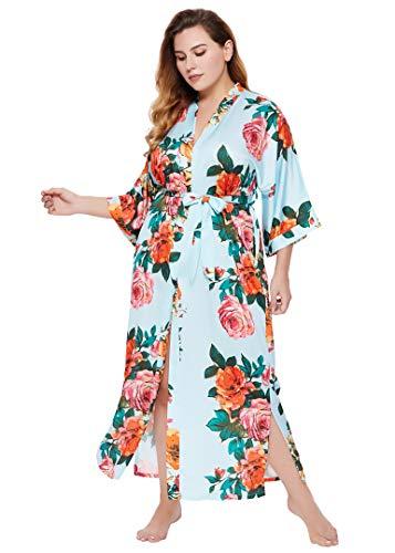 Coucoland Damski szlafrok poranny duży rozmiar letni kimono długie foki kwiaty wzór lekka sukienka plażowa damska satynowy płaszcz do spania