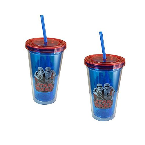 sip tumbler with straws 2-Pack Star Wars Stormtroopers 16.5 oz Double Wall Tumblers with Lids and Straws