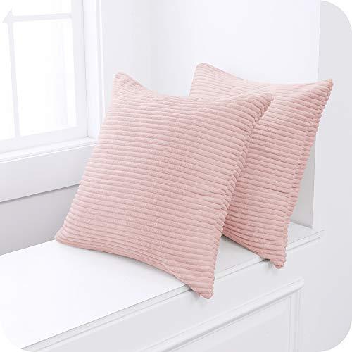 Umi Amazon Brand 2 Stück Kordsamt Kissen Einfarbig Kissenbezüge Dekorative Kissenhülle Kopfkissen Sitzkissen Dekokissen Couchkisen für Sofa 40x40 cm Rosa