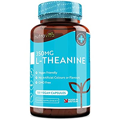 L-Theanine 350mg - High Strength L Theanine Capsules - 120 Vegan Capsules - 4 Month Supply - Made in The UK by Nutravita