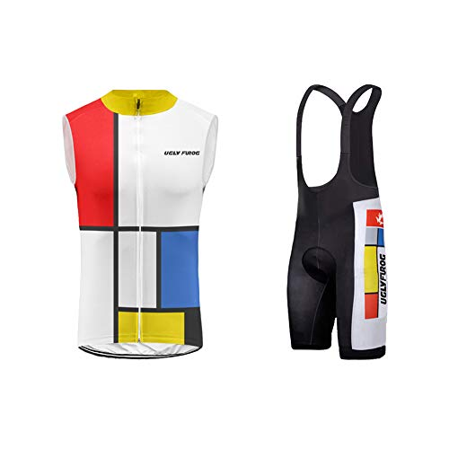 UGLY FROG Completo da Ciclismo, Traspirante, Composto da Maglietta Senza Maniche+ Bib Pantaloncini con Imbottitura in 3D Uomo Cycling Set (Taglia:XXS-6XL)