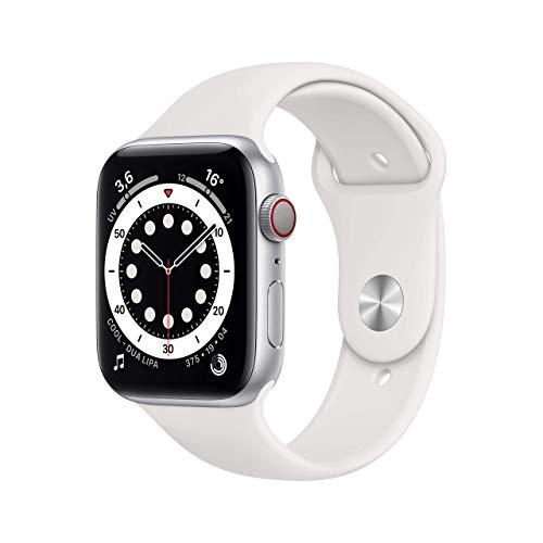Novità AppleWatch Series6 (GPS+ Cellular, 44mm) Cassa in alluminio color argento con Cinturino Sport bianco