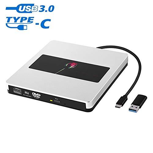 Somdar - Unità CD esterna, USB 3.0, Slim DVD/CD ROM Rewriter Burner Superdrive, lettore CD DVD per laptop/desktopPC/Windows10