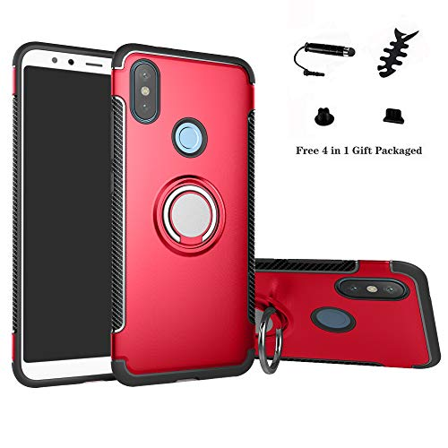 LFDZ Xiaomi Mi A2 Anillo Soporte Funda 360 Grados Giratorio Ring Grip con Gel TPU Case Carcasa Fundas para Xiaomi Mi A2 / Mi 6X Smartphone(Not fit Mi A2 Lite),Rojo