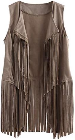 aihihe Vest for Women Autumn Winter Faux Suede Ethnic Cardigan Sleeveless Tassels Fringed 70S product image