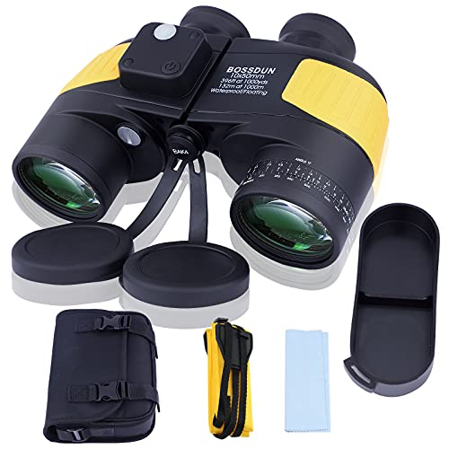 10x50 Binocolo Marino per Adulti, Binocoli Militare Impermeabile con Bussola Telemetro BAK4 Prisma Lente FMC Antiappannamento per la Navigazione Birdwatching Caccia (LP0002Y)