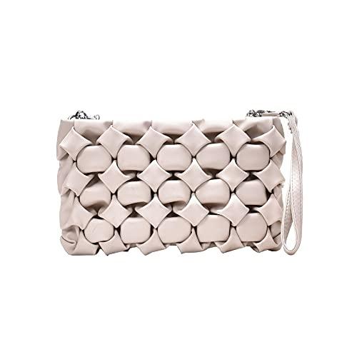 HuaRan Bolsos de cuero para mujer Bolsos de mensajero de cuero para mujer, bolsos de mensajero de cadena de metal (color: blanco roto, tamaño: 26 x 16 x 5 cm)