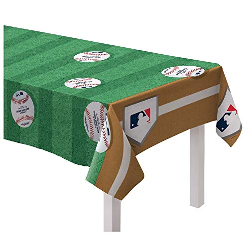 amscan Rawlings Baseball Collection Printed Plastic Table Cover Party Supplies Green, 54' x 102'