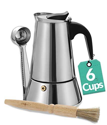 Cosumy Espressokocher Set für 6 Tassen mit Reinigungsbürste und Dosierlöffel - Induktion geeignet - Edelstahl Rostfrei