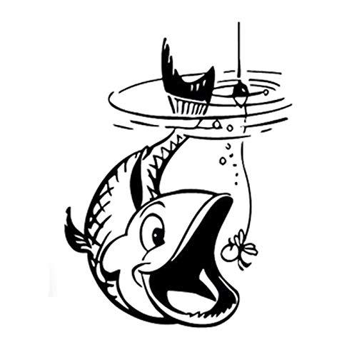FENCHUN 13.1cm * 17.5cm Interesante Pesca Silueta Silueta Vinilo Calcomanía del Coche (Color Name : Black)