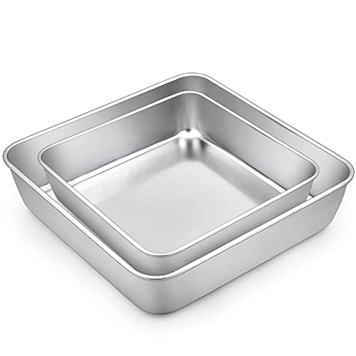 TeamFar Square Cake Pan, 8 / 9 Inch Stainless Steel Square Baking Pan for Cake Brownie Lasagna, Non-Toxic & Heavy Duty, One Piece Design & Deep Wall, Smooth & Dishwasher Safe – Set of 2