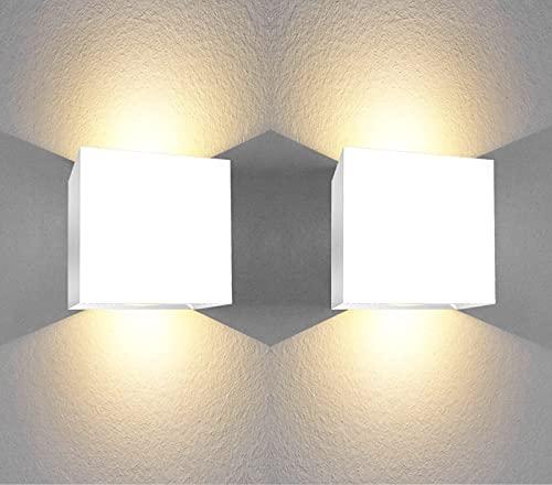 Aplique pared interior led forma cuadrada 6W Luz blanca calida 3000K apliques pared led dormitorio baño Salon pasillos escalera Clase eficiencia energetica A++ (2 Uds)