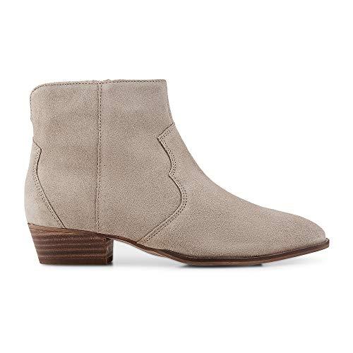 Cox Damen Trend-Boots aus Leder, Stiefeletten in Beige mit Blockabsatz in Holzschicht-Optik Beige Rauleder 39