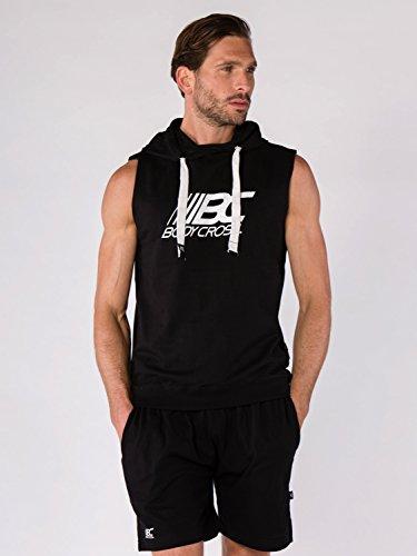 BODYCROSS Sweat sans Manches A Capuche Benjy Noir Training, Running - Coton/Polyester - Col Croisé, Logo BC Poitrine