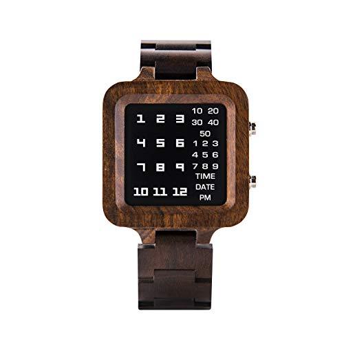 BOBO BIRD デジタル腕時計 メンズ ラグジュアリーブランドデザイン ナイトビジョン エボニー 木製腕時計 ユニークな時計 LEDディスプレイウォッチ