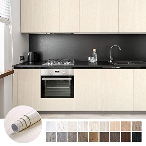 KINLO Möbelaufkleber 5x0.61M Selbstklebende Klebefolien holzoptik Wasserdicht Möbelsticker für Schrank Möbelsticker die Möbel verschönen Küchefolie Wasserdicht leicht reinigen antibakteriell(Beige)
