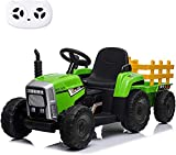 sopbost 12V Electric Ride on Tractor with Trailer, 2+1 Gear Shift Knob Stick Ground Loader Ride On with Remote Control, 7-LED Headlight, Horn Button, MP3 Player, Bluetooth, USB Port (Green)