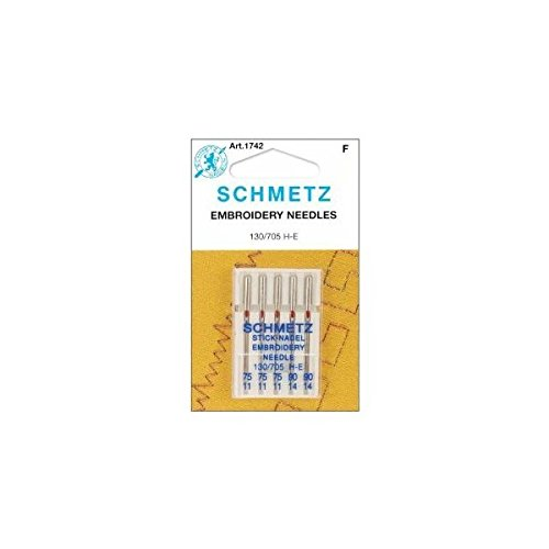 Euro Notions Embroidery Machine Needles (Size 11/75) - 3 per package and (14/90) - 2 per package