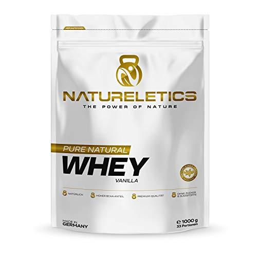 NATURELETICS VANILLE 1kg natürliches Premium Vanille Whey, Proteinpulver aus Deutschland, ohne Zusatz von Zucker, Süßstoffen und Sojalecithin, Eiweißpulver mit einem hohen BCAA Anteil von 22,6%