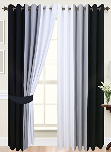 cushion mania PAIR OF 3 TONE FULLY LINED EYELET CURTAINS IN (BLACK/WHITE/GREY, 66' WIDE X 54' DROP)