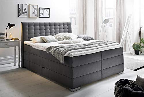 möbelando Boxspringbett Ehebett Hotelbett Doppelbett Bett Lenno anthrazit 180x200 cm H2
