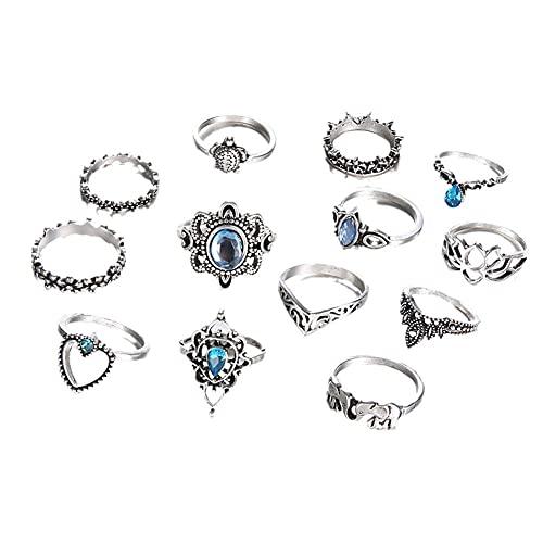 N.B Juego de 12 anillos punk ajustables vintage de plata y negro, diseño de elefante, zorro, tortuga, zafiro, aleación gótica, anillos apilables para mujeres y hombres
