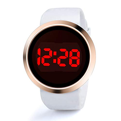 Scpink LED Elektronische Uhr Neue Runde Touch Screen Uhr Mode Paar Business Uhren Stabile Herrenuhr Gezeiten Uhr für Damen und Herren 25cm Bianco